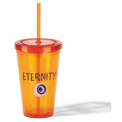 Spend Eternity Tumbler with Straw, Orange  -