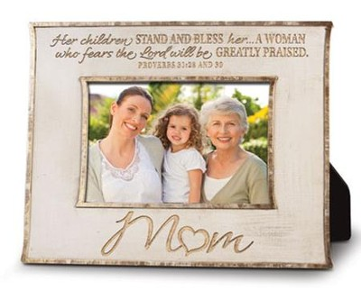 Mom, Her Children Stand and Bless Photo Frame  -