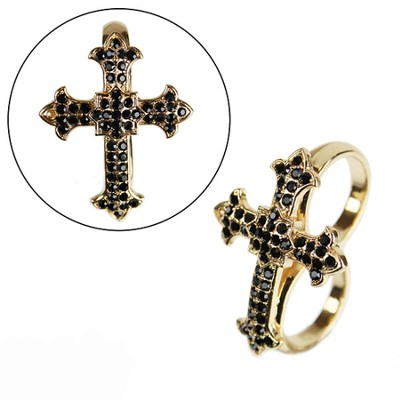 Gold Double Finger Cross Ring, Small  -