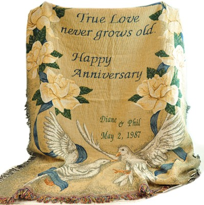 Personalized, True Love Never Grows Old Tapestry Throw   -