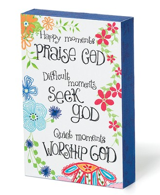 Praise, See, Worship God, Colorful Wood Plaque   -     By: Caroline Simas