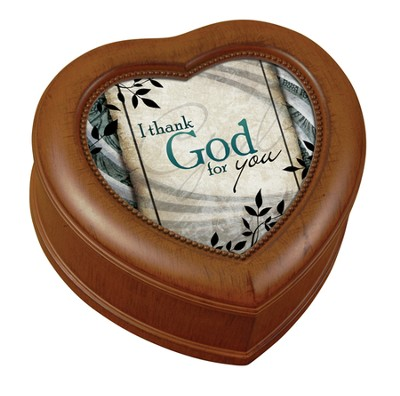 I Thank God For You Heart Shaped Music Box  -