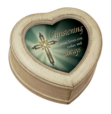 Christening Heart Shaped Music Box  -