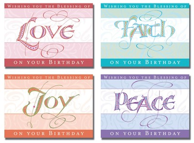 Joy, Love, Faith, Peace Birthday Cards, Box of 12  -