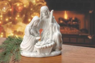 One Piece White Porcelain Holy Family Figurine  -