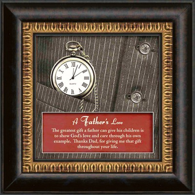 A Father's Love Framed Art, with Clock  -