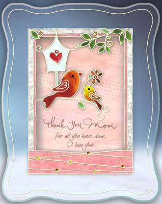Mother Painted Glass Musical Sentiment Plaque  -