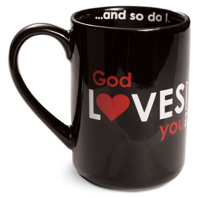 God Loves You Mug, Black  -