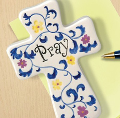 Ceramic Wall Cross & Paperweight, Pray  -