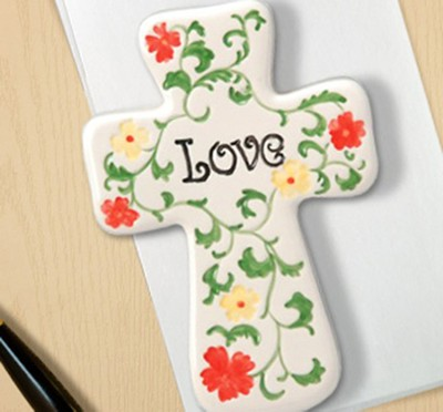 Ceramic Wall Cross & Paperweight, Love  -