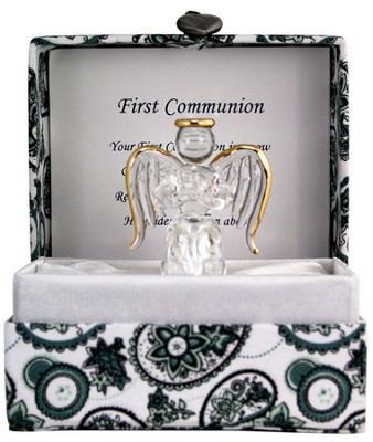 First Communion Glass Angel in Silk Box  -