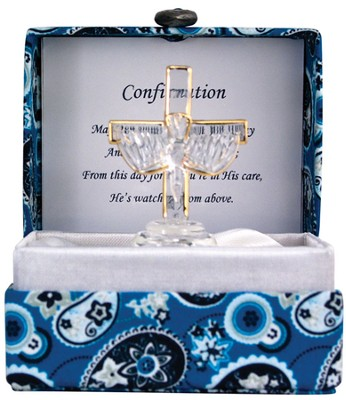 Confirmation Glass Cross and Dove in Silk Box  -