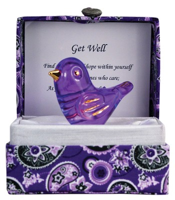 Get Well Glass Bird in Silk Box  -