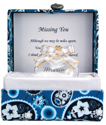Missing You Glass Heart in Silk Box  -
