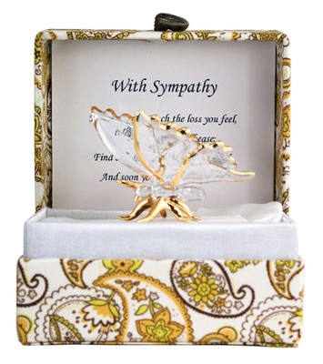 With Sympathy Glass Butterfly in Silk Box  -