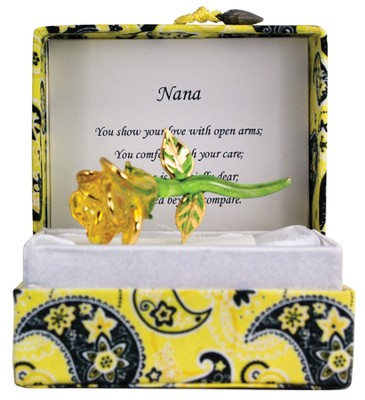 Nana Glass Yellow Rose in Silk Box  -