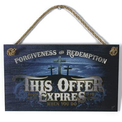 This Offer Expires Wood Sign with Rope Hanger  -
