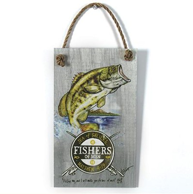 Fishers Of Men Wood Sign with Rope Hanger  -