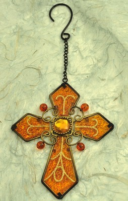 Glass Hanging Cross, Gold  -