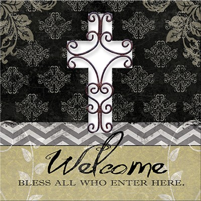 Wire Cross Welcome Plaque  -