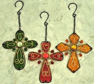 Set of Three Glass Hanging Crosses  -