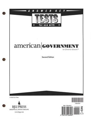 BJU American Government Tests Answer Key, Grade 12    -