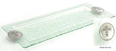 Glass Rectangular Tray with Cross  -