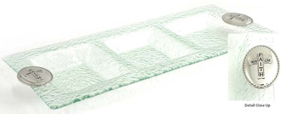 3 Section Glass Tray with Cross  -