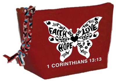 Faith, Hope, Love, Butterfly Cosmetic Bag  -