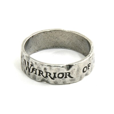 Pewter Warrior Of El Shaddai Ring, Size 9  -