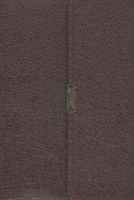 NAS Compact Reference Bible, Bonded leather, Burgundy w/snap flap   -