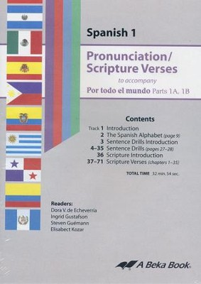 Por todo el mundo Spanish Year 1 A & B Pronunciation/ Scripture Verses Audio CD  -