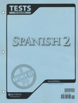 BJU Spanish 2 Tests Answer Key, Second Edition    -