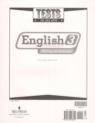 BJU English 3: Writing and Grammar Tests, Second Edition   -