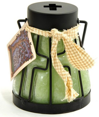 Candle Lantern with Cross Design, Sage and Citrus  -