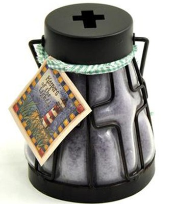 Candle Lantern with Cross Design, Lavender Vanilla  -