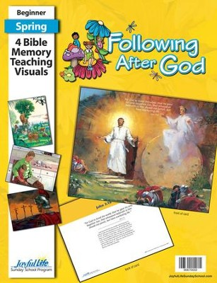 Following after God Beginner (ages 4 & 5) Bible Memory Verse Visuals (Spring Quarter)  -