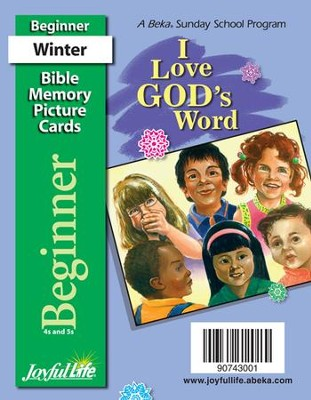I Love God's Word Beginner (ages 4 & 5) Mini Bible  Memory Picture Cards  -