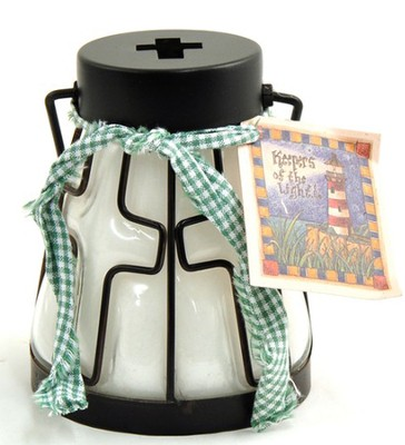 Cross Candle Lantern, Crisp Cotton  -