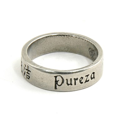 Pewter Language of Love Ring, Size 8  -