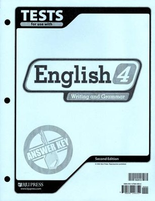 BJU English: Writing & Grammar Grade 4 Tests Answer Key 2nd Ed.   -