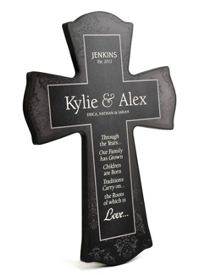 Personalized, Family Roots Cross, Black, Large   -