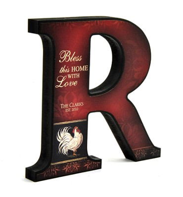 Personalized, Bless This Home Mini Letter R, Rooster   -