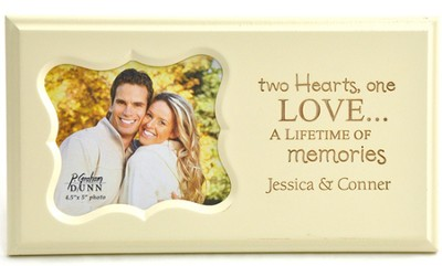 Personalized, Two Hearts One Love, Photo Frame, White   -