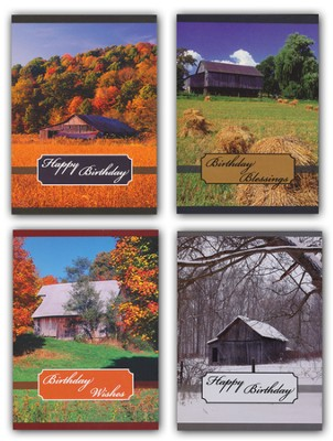 Rustic Barns Birthday Cards, Box of 12  -