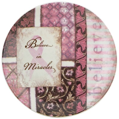 Believe in Miracles Plate, Pink Ribbon  -     By: Dee Dee