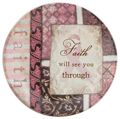 Faith Will See You Through Mini Plate, Pink Ribbon  -     By: Dee Dee