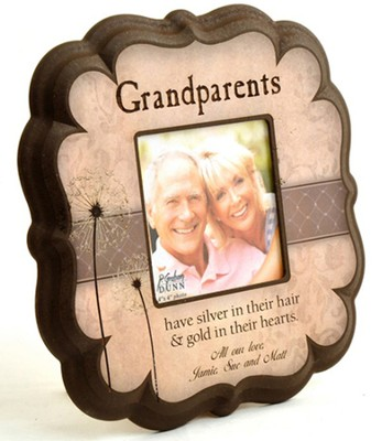 Personalized, Grandparents 4X4 Photo Frame, Tan   -
