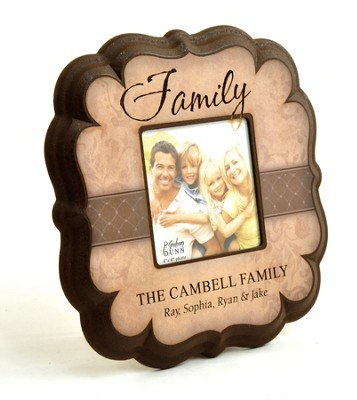 Personalized, Family 4X4 Photo Frame, Tan   -