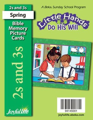 Little Hands Do His Will (ages 2 & 3) Mini Bible Memory Picture Cards (Spring Quarter)  -